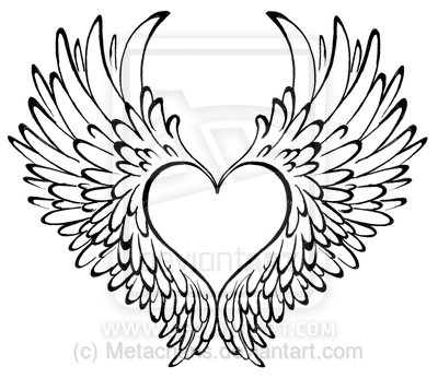 Drawn hearts angel Tattoo Tattos wings Angel with