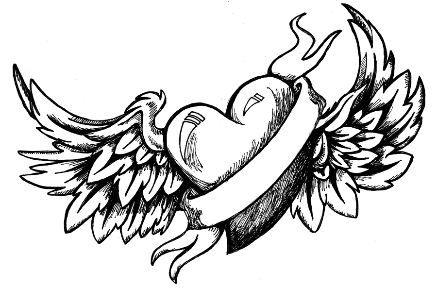 Drawn hearts wing Heart wings With coloring Coloring