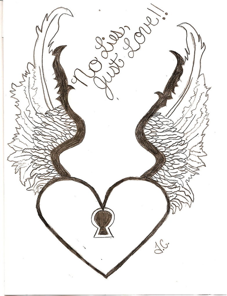 Drawn hearts draw Artistic Drawing Wings by By
