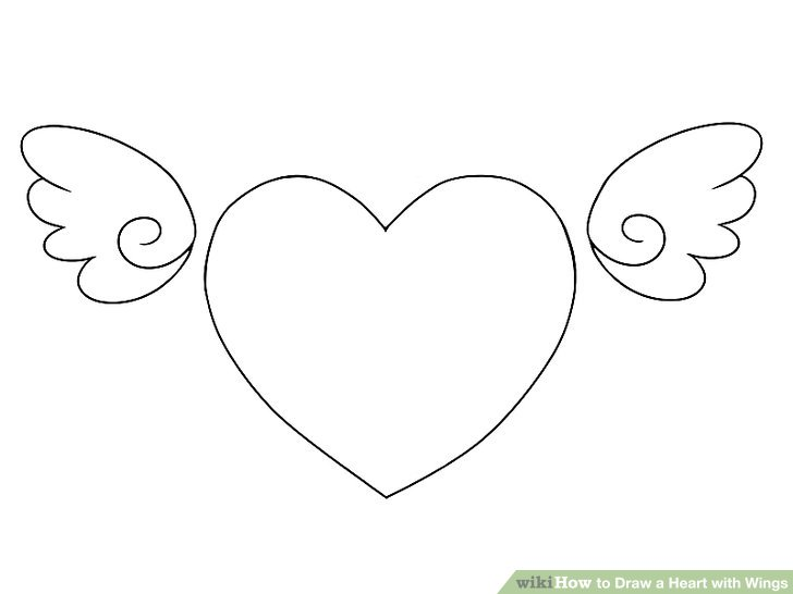Drawn hearts wing 4 Wings Draw 4 wikiHow