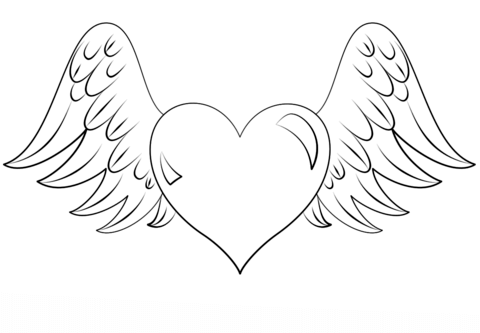 Drawn heart winged heart Printable Heart with version see