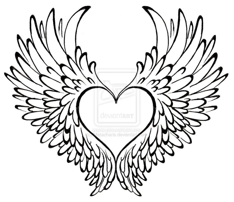 Drawn heart winged heart Art on deviantART by Wings