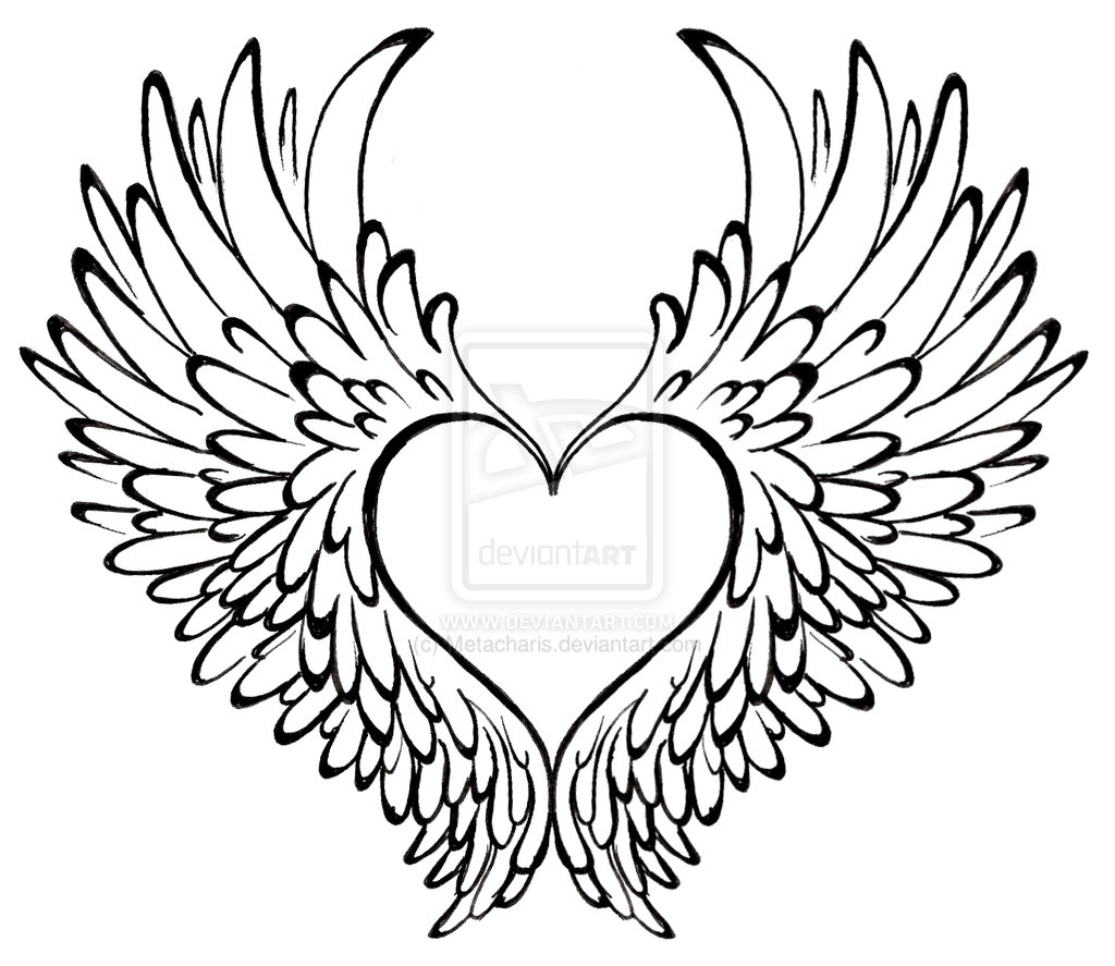 Drawn heart winged heart  more! Heart Tattoo With
