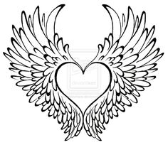 Drawn hearts angel With Tatts heart Winged angel