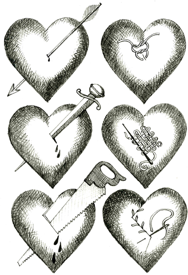 Drawn hearts wounded heart Wounded Ongoing Her drawing hearts