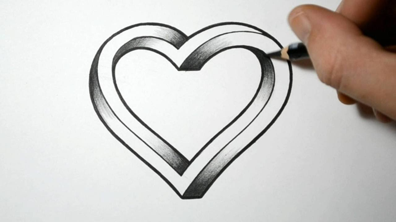 Drawn optical illusion easy draw An Heart Impossible YouTube