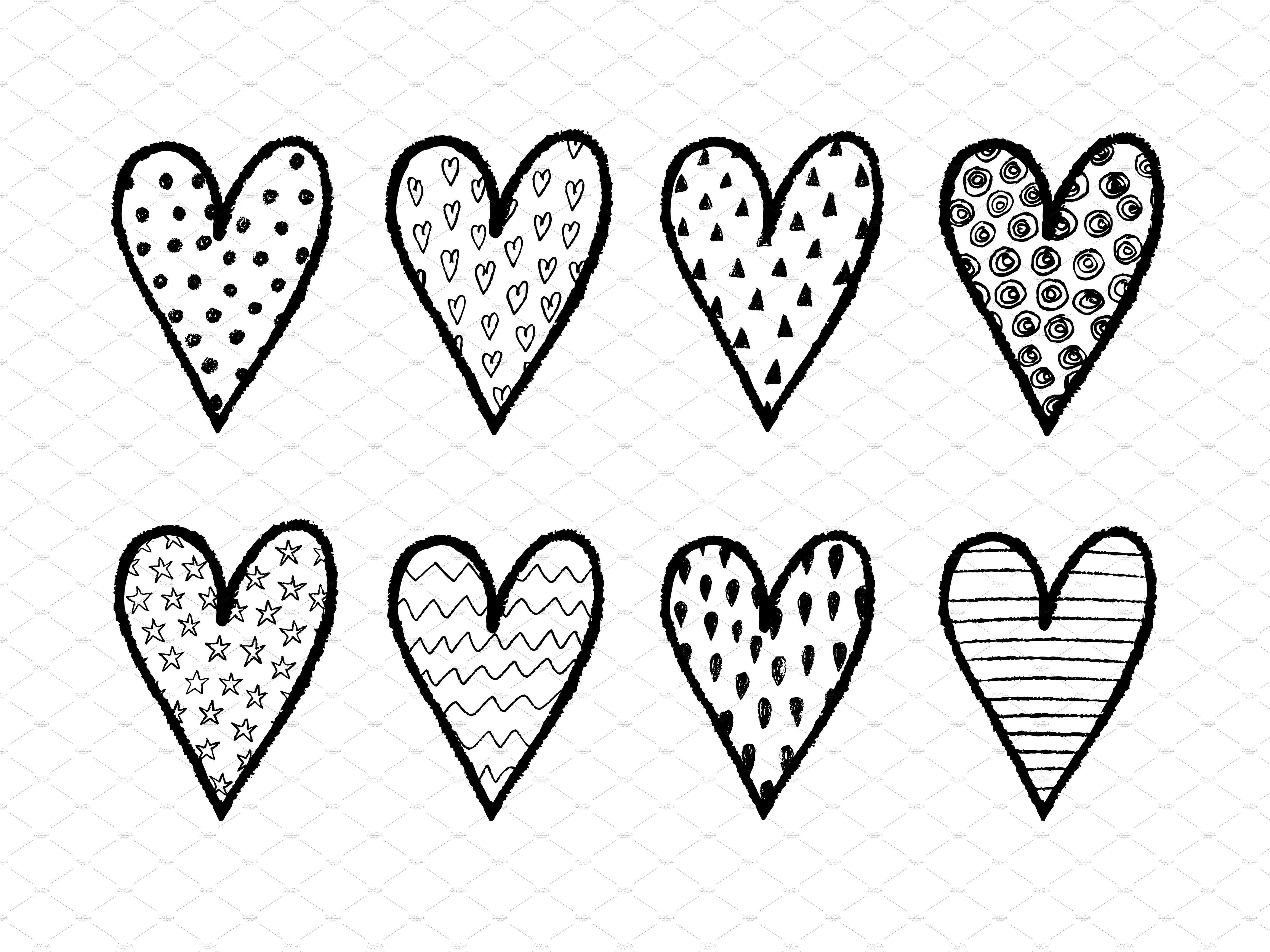 Drawn hearts Drawn Hand ~ set on