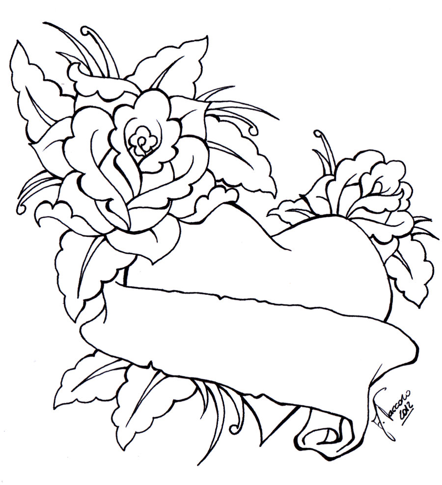 Drawn hearts banner Of Download Roses And Drawings