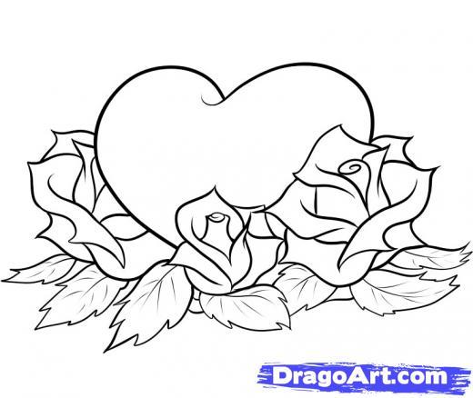 Drawn hearts big rose Heart Clip Tattoos Art