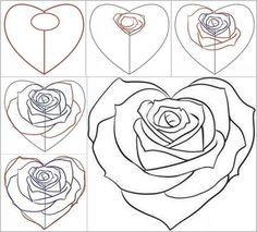 Drawn hearts big rose Drawing Heart A Best Rose