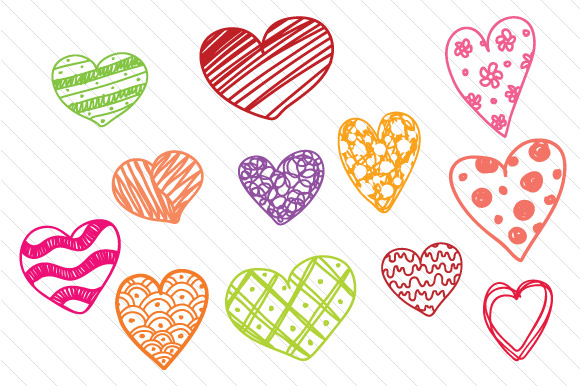 Drawn hearts creative Fabrica 12 of Set Hand