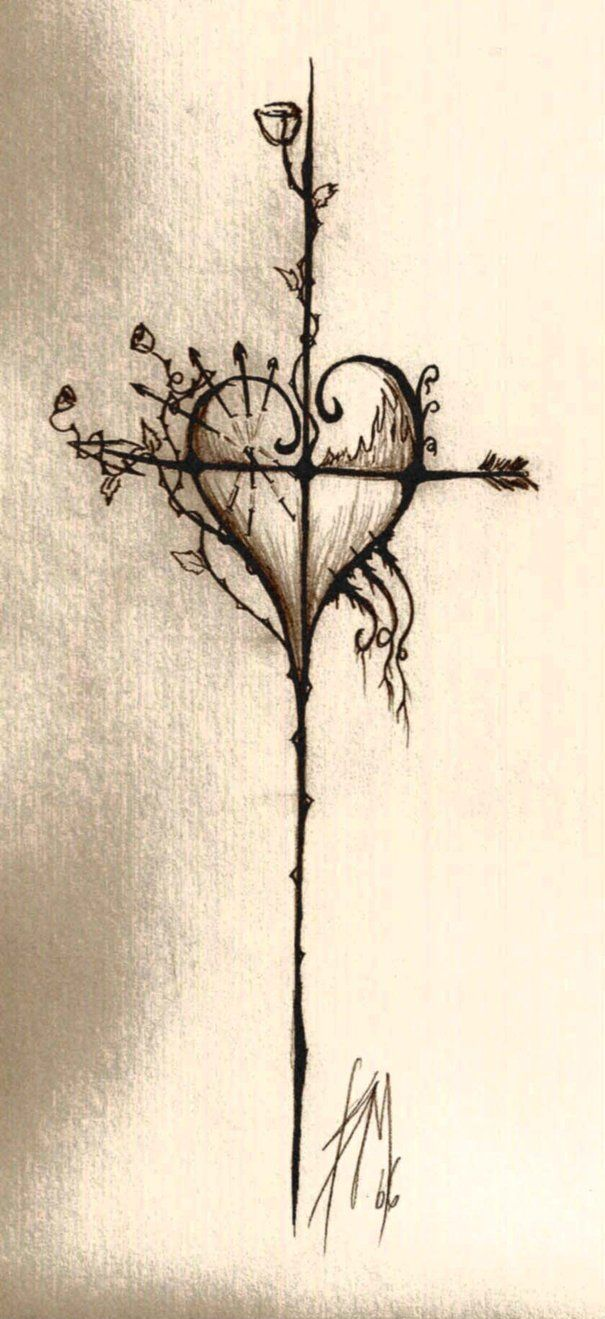 Drawn hearts crosses Images Pinterest on cross drawings