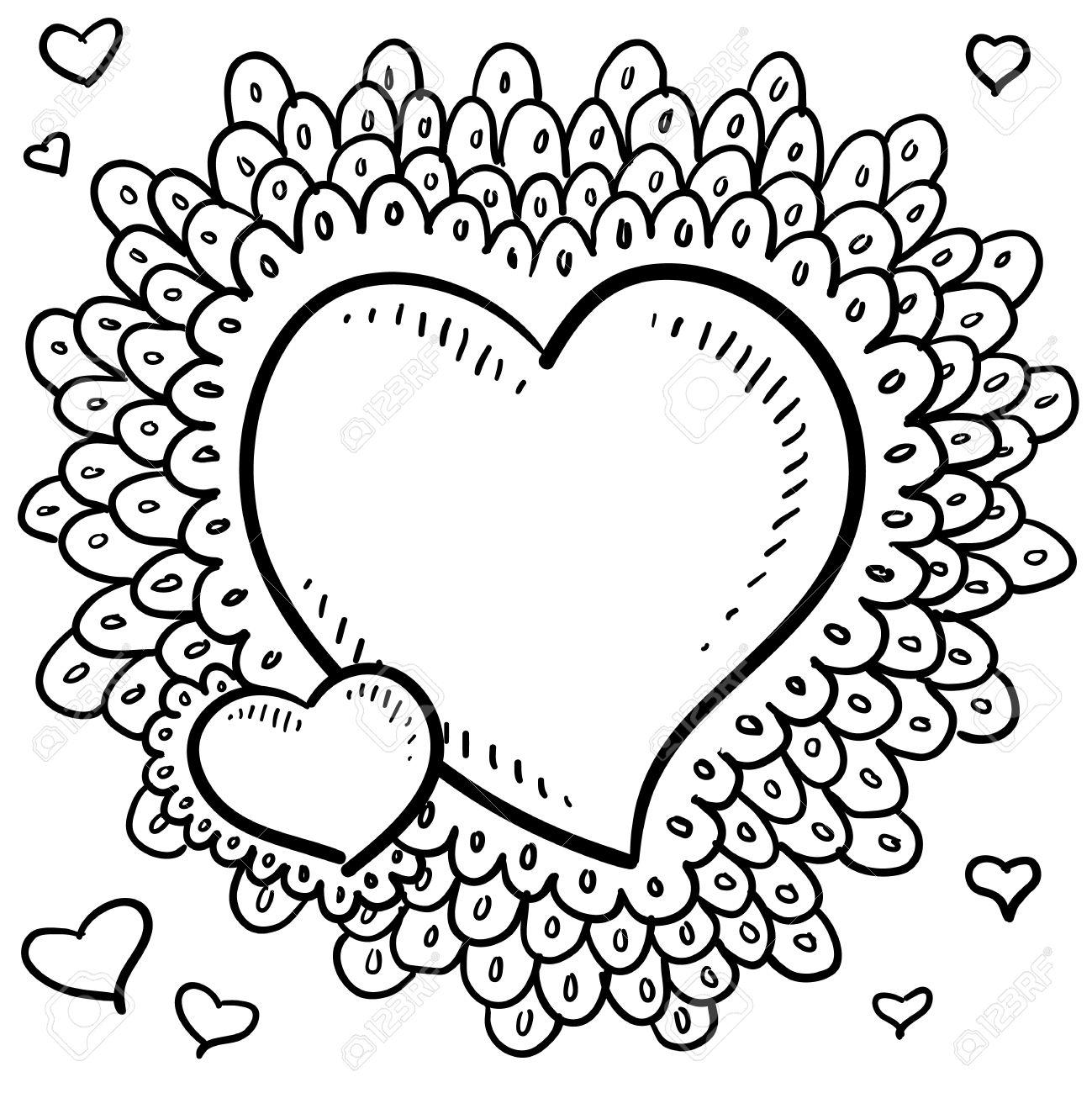Drawn hearts doodle art #15
