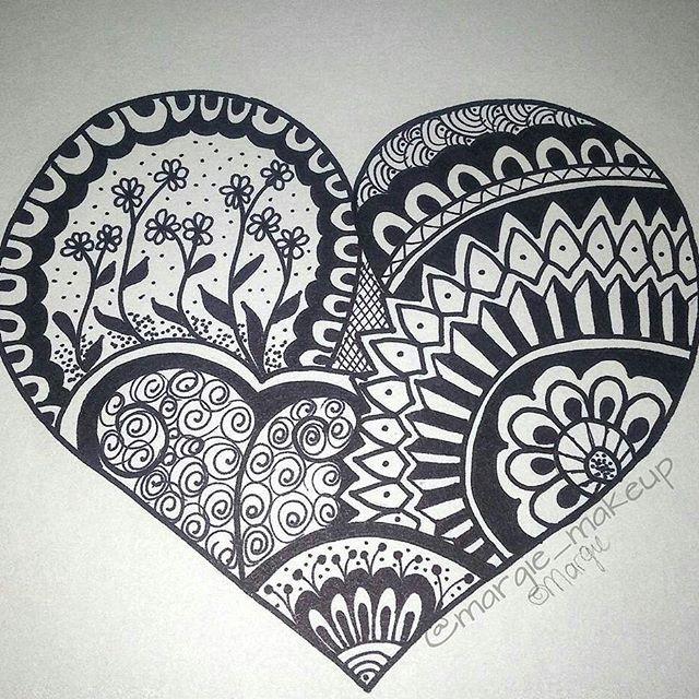Drawn hearts doodle art #6