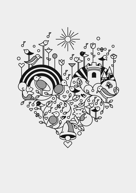 Drawn hearts doodle art #12