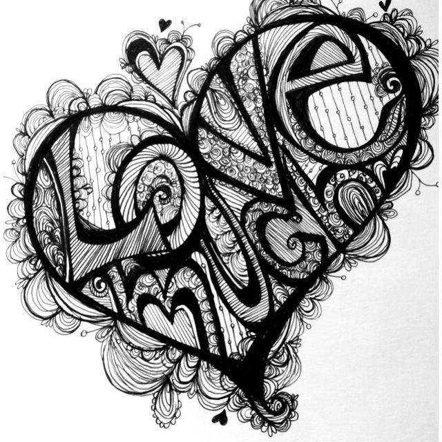 Drawn hearts doodle art #13