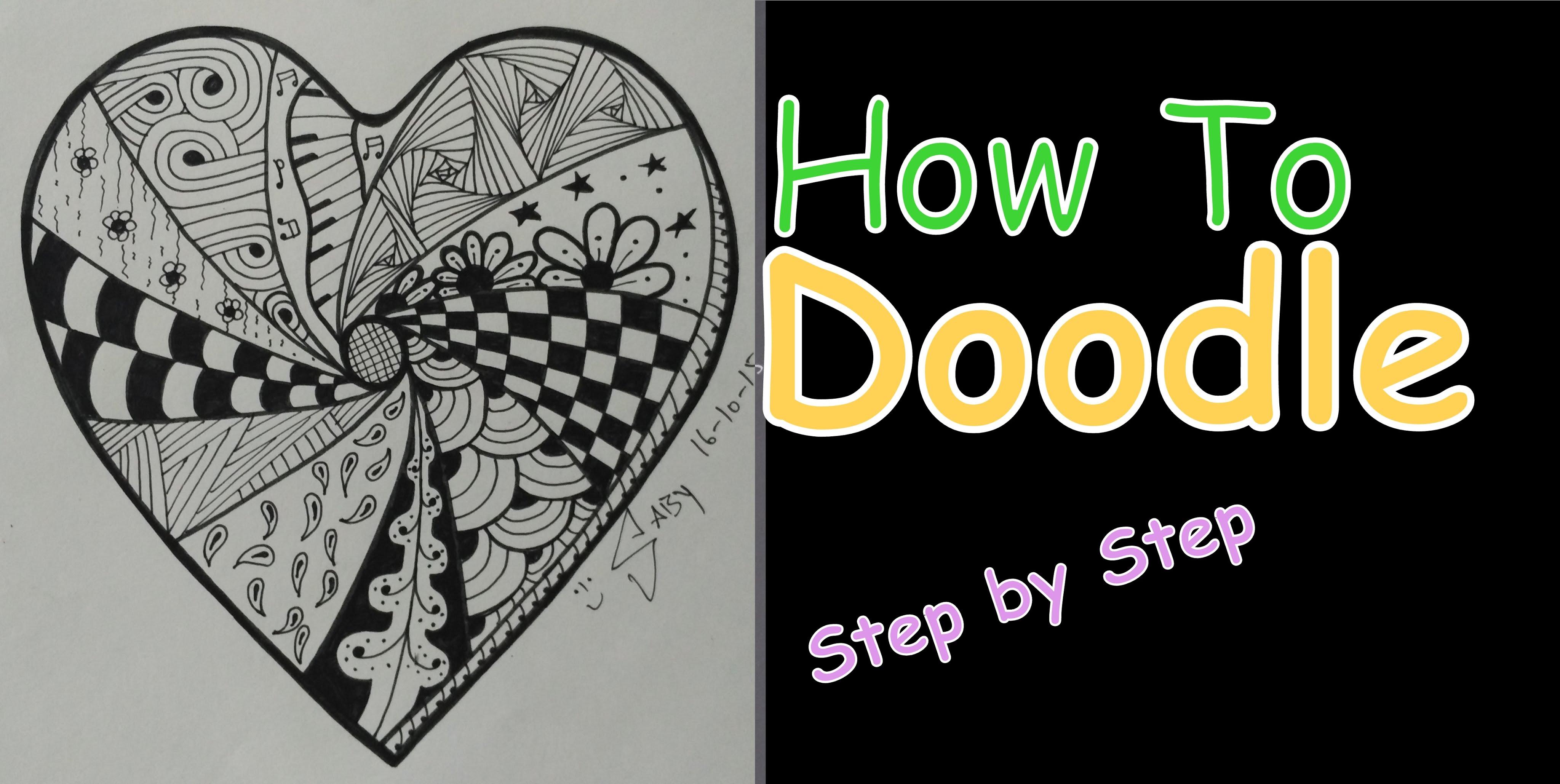 Drawn hearts doodle art #10