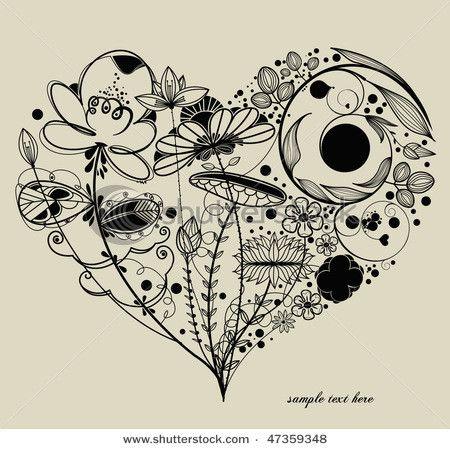Drawn hearts doodle art #9