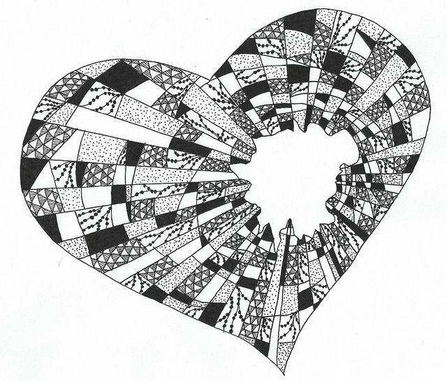 Drawn hearts doodle art #4
