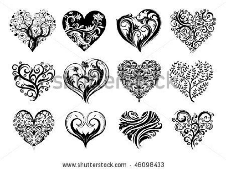 Drawn hearts doodle art #7