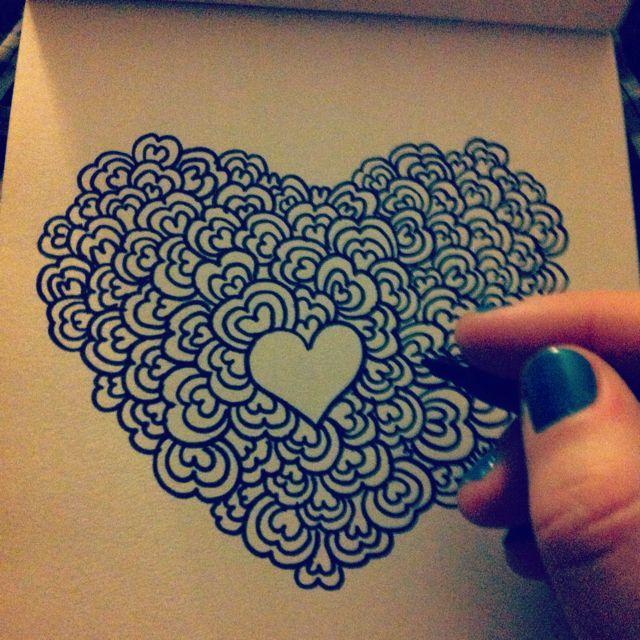 Drawn hearts doodle art #8