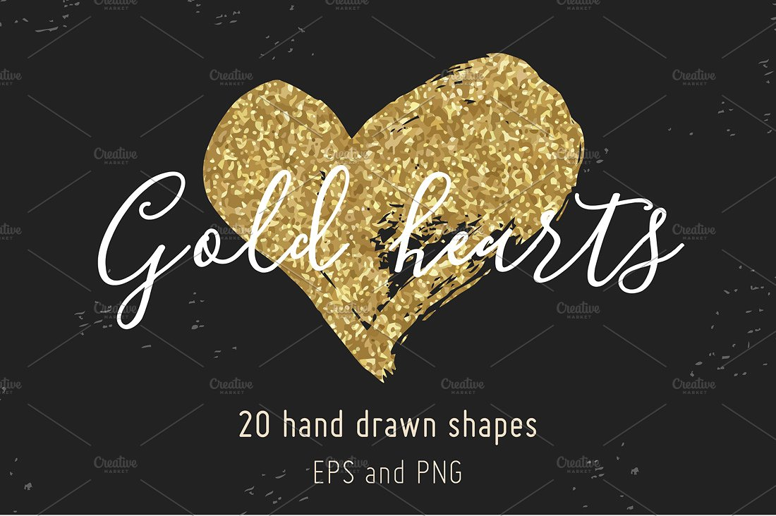 Drawn hearts glitter Gold hearts glitter on