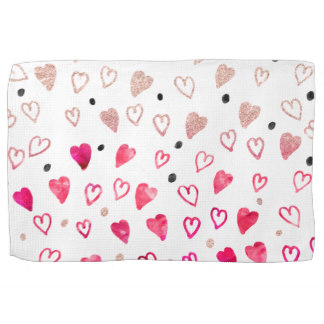 Drawn hearts glitter Hand glitter drawn Zazzle towel