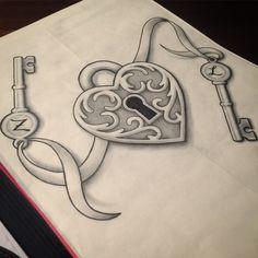 Drawn hearts lock Best Magazine tattoo  Inked