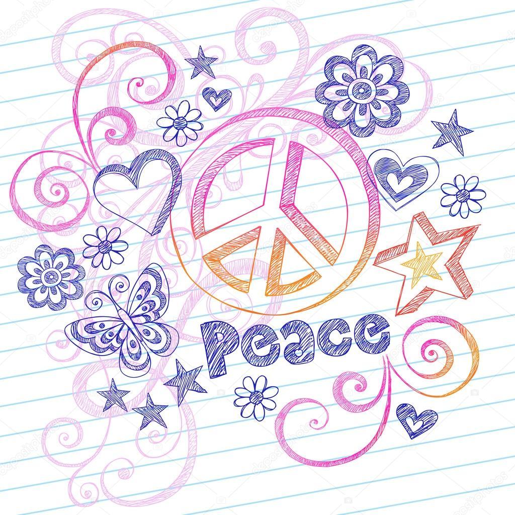 Drawn hearts peace sign Sign Sketchy Hearts Stock Peace