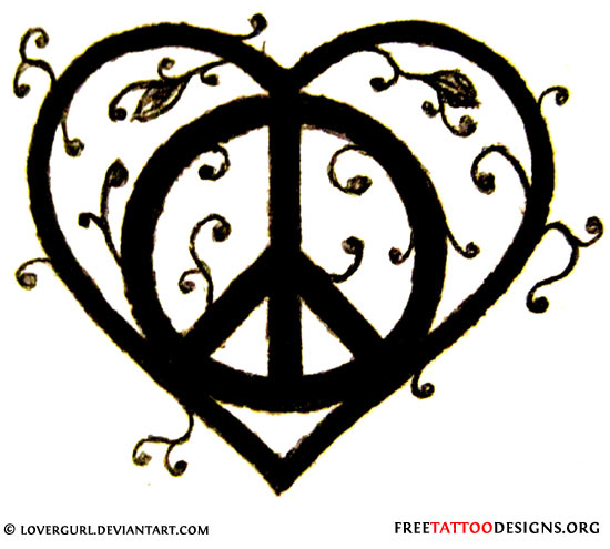 Drawn hearts peace sign · tattoo 50 Tattoos Heart