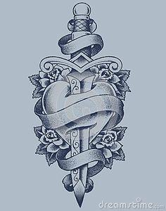 Drawn hearts sword And Google Tatuajes de Mundo
