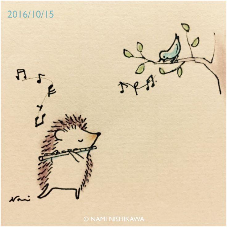 Drawn hedgehog doodle Flute Hedgehog best ♡ Pinterest
