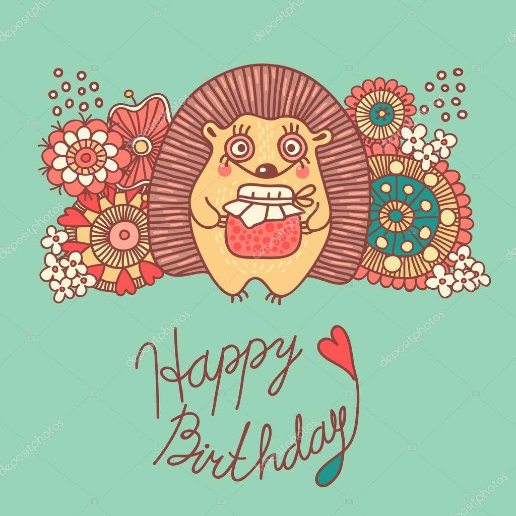Drawn hedgehog happy birthday A Cute Stock Illustration –