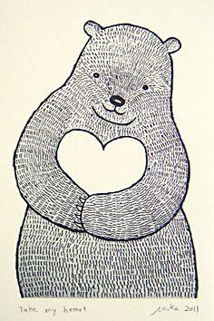 Drawn hedgehog rustic White  Bear White Art