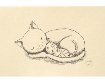 Drawn hedgehog rustic Hedgehog Cat Print & Black