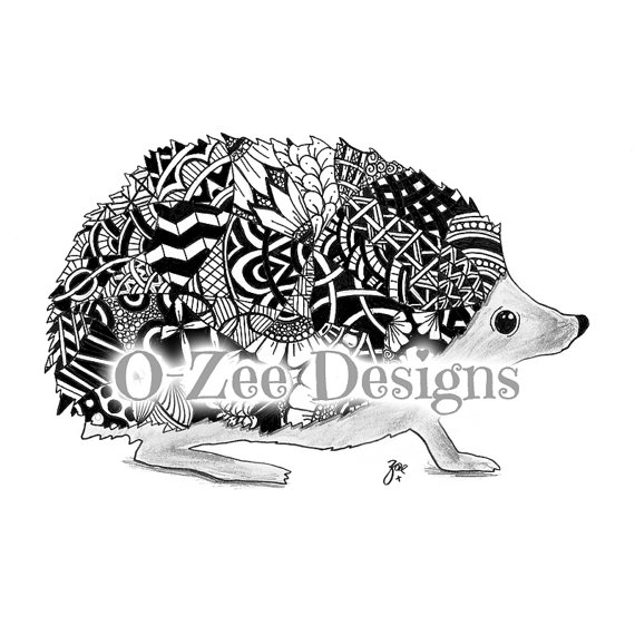 Drawn hedgehog zentangle PRINT Zentangle  Inspired Inspired