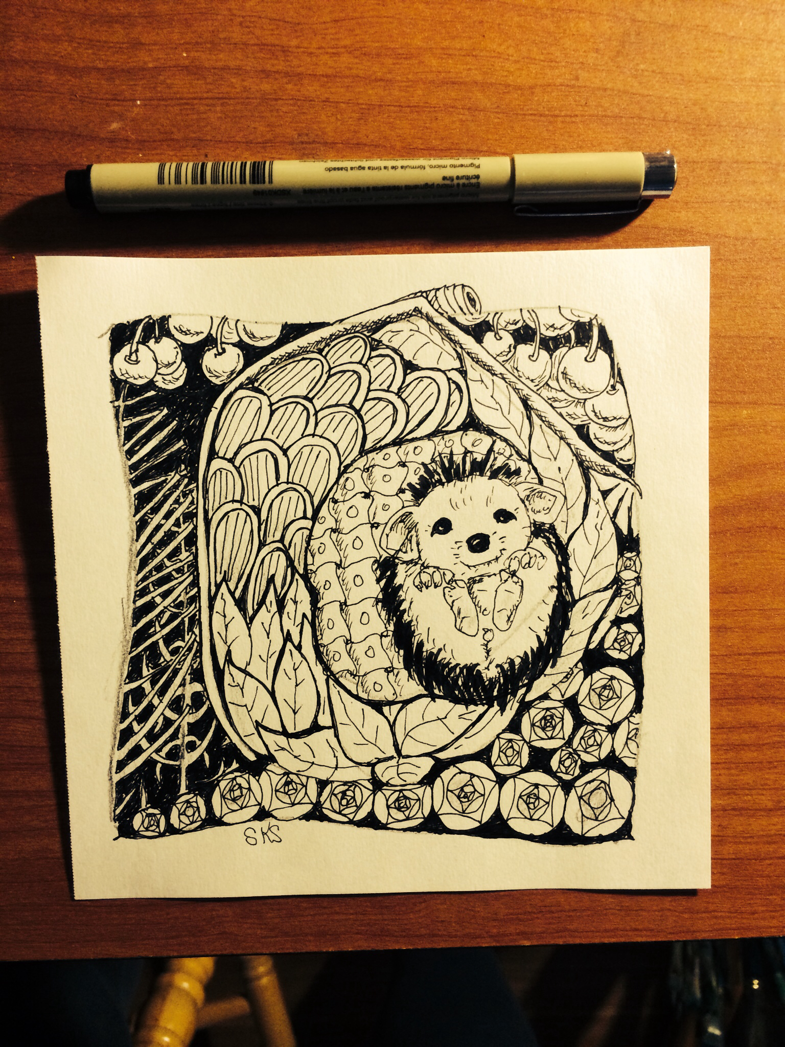 Drawn hedgehog zentangle Zentangle Hedgehog zentangle A5 Hedgehog