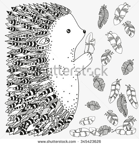 Drawn hedgehog zentangle Artistically and ornamental hedgehog prickly