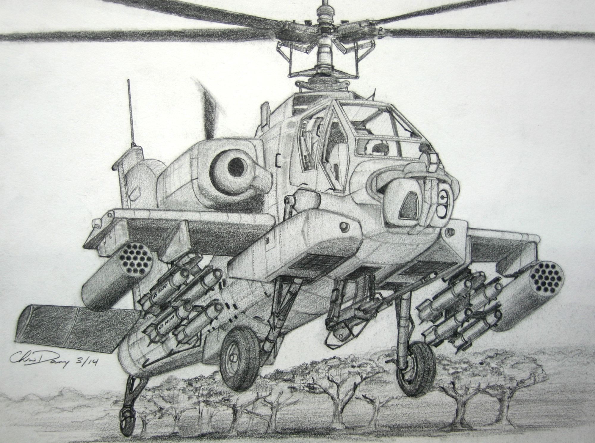 Drawn helicopter attack helicopter Apache by Helicopter on Attack