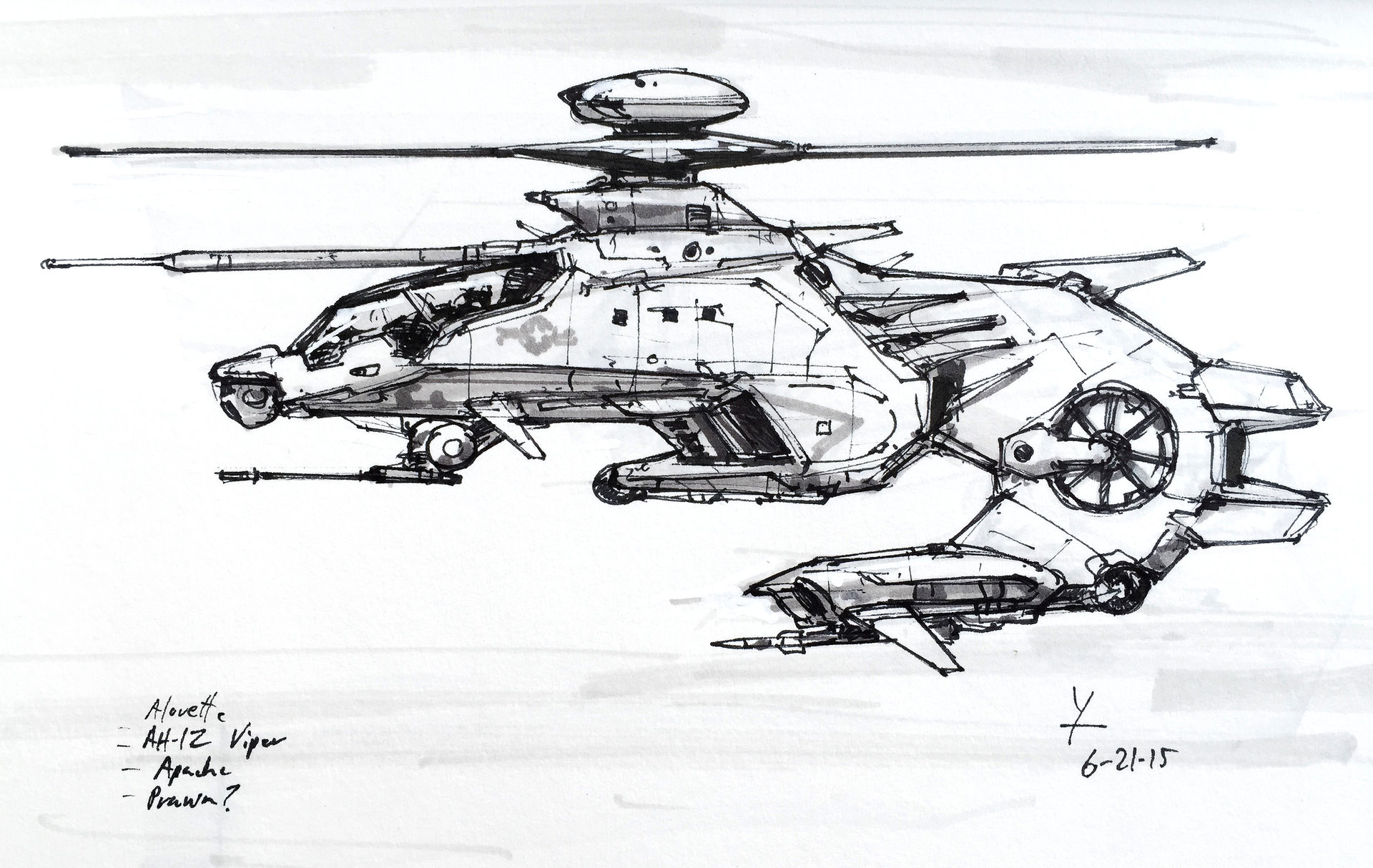 Drawn helicopter attack helicopter Helicopter Attack see sketch ArtStation