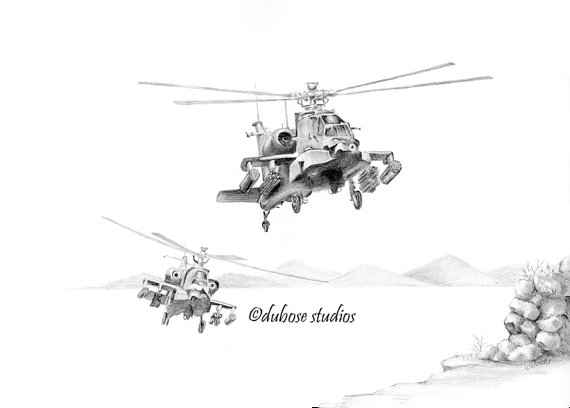 Drawn helicopter attack helicopter By from original DuBose Helicopter