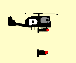 Drawn helicopter bomber Helicopter shoots control A missiles