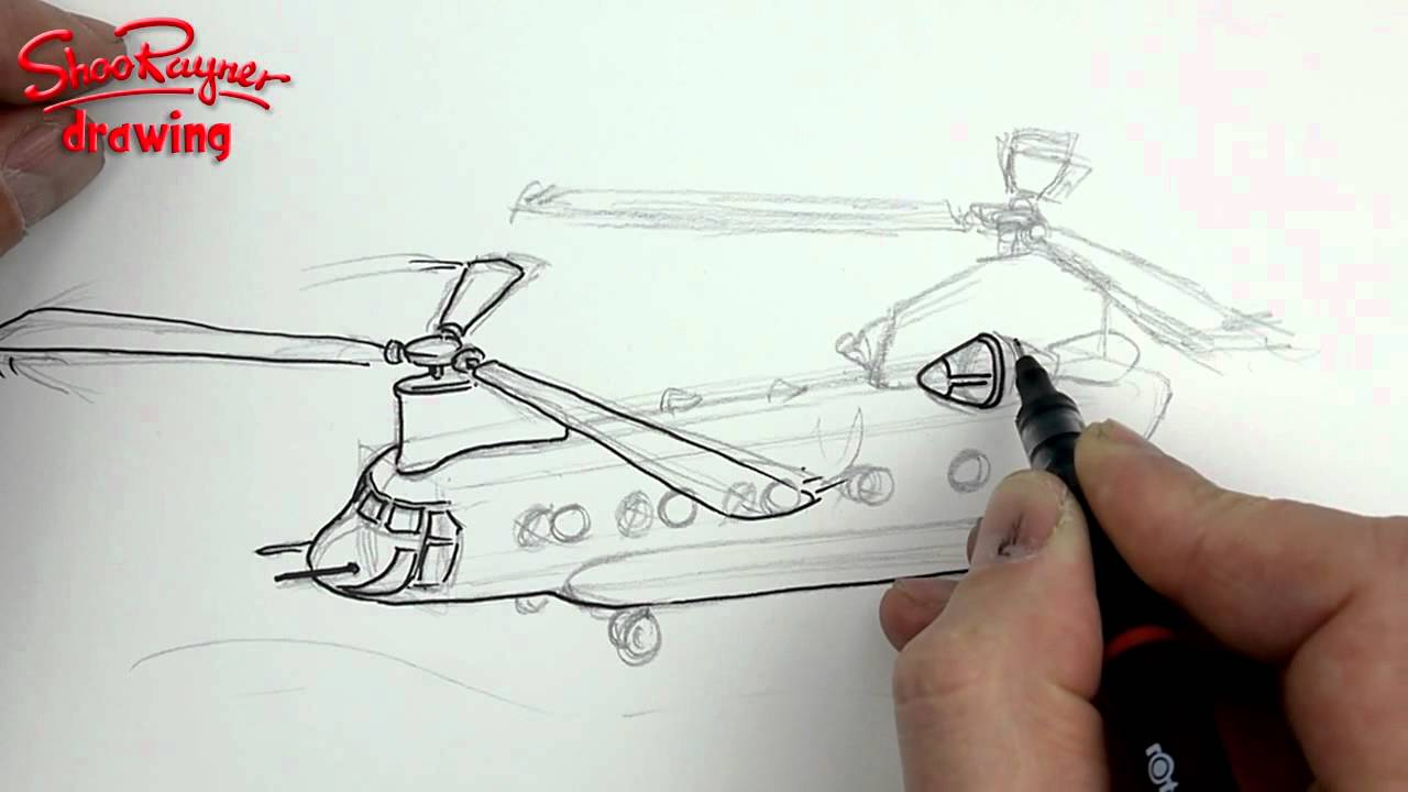 Drawn helicopter chinook helicopter Boeing a CH to How