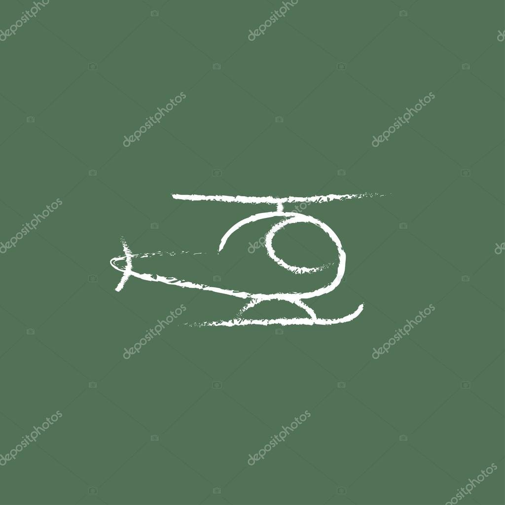 Drawn helicopter icon In Vector chalk in Stock