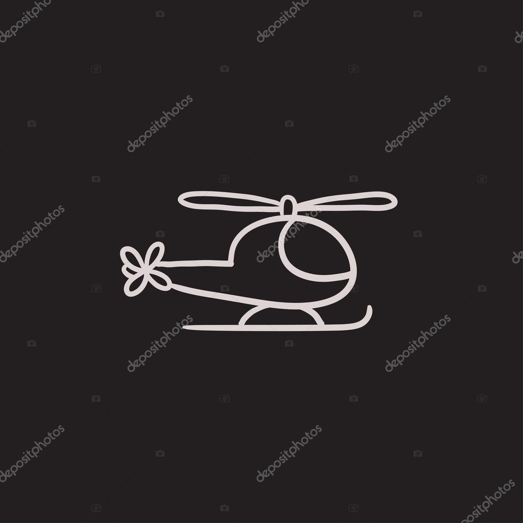 Drawn helicopter icon Sketch website isolated icon background