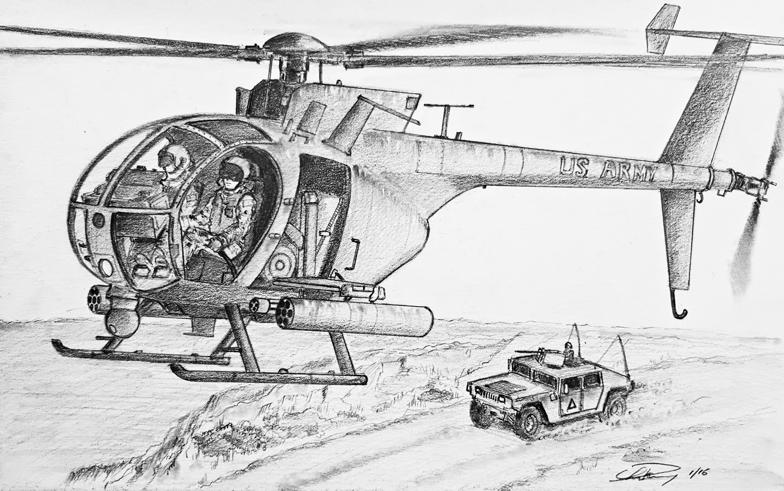 Drawn helicopter little bird Bird OH Helicopter an Draw