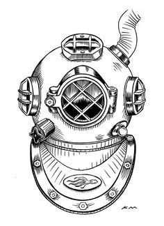 Drawn squid diver helmet Tattoo helmet con Buscar helmet