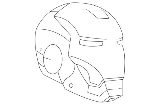 Drawn helmet iron man And Paint the shall of