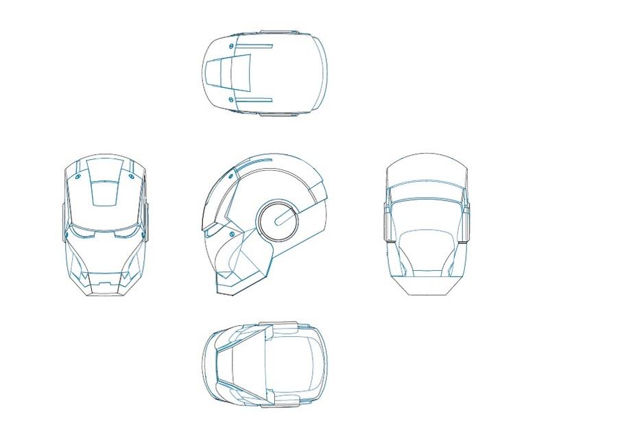 Drawn helmet iron man Iron 3D helmet model Anonymous