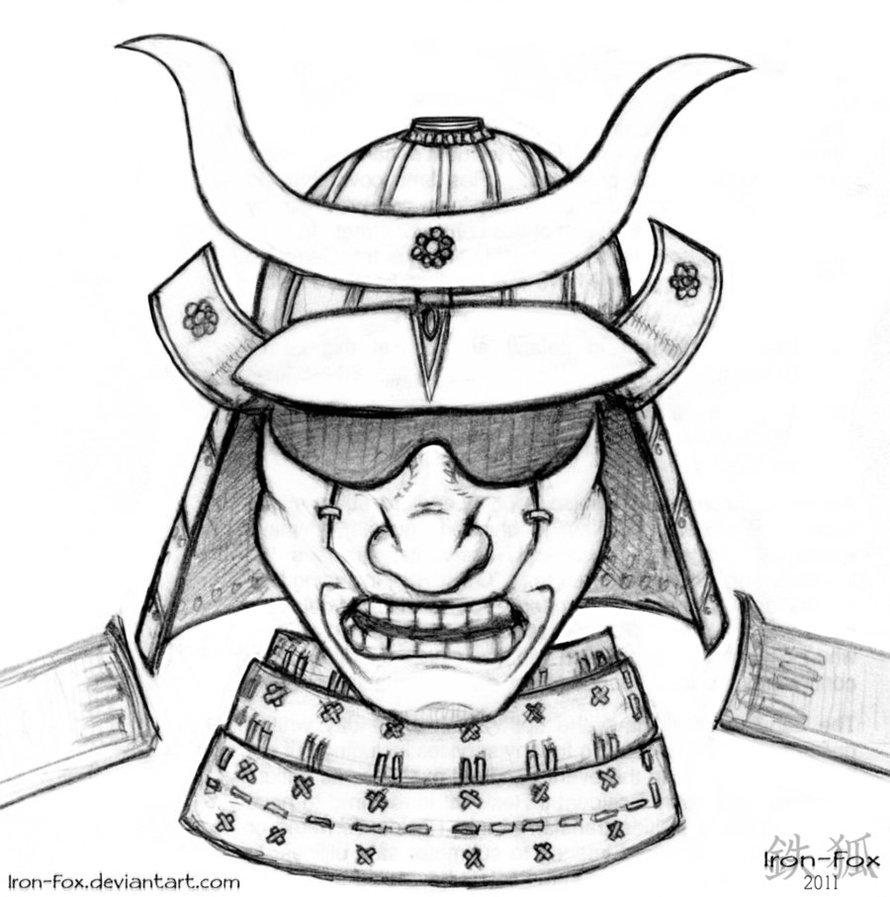 Drawn masks samurai Samurai Iron on Samurai Helmet